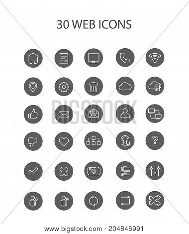 30 Grey Web Icons with Interior Full Round Vector Illustration
