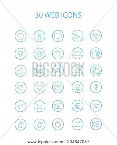 30 Blue Color Web Icons with Hollow Round Vector Illustration