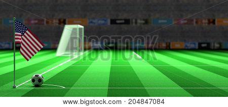 Usa Flag On A Soccer Field. 3D Illustration