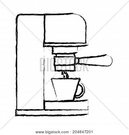 coffee espresso machine side view monochrome blurred silhouette vector illustration