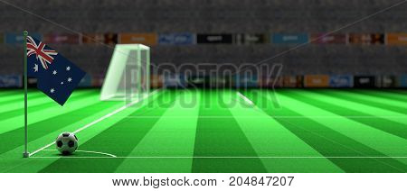 Australia Flag On A Soccer Field. 3D Illustration