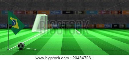 Brazil Flag On A Soccer Field. 3D Illustration