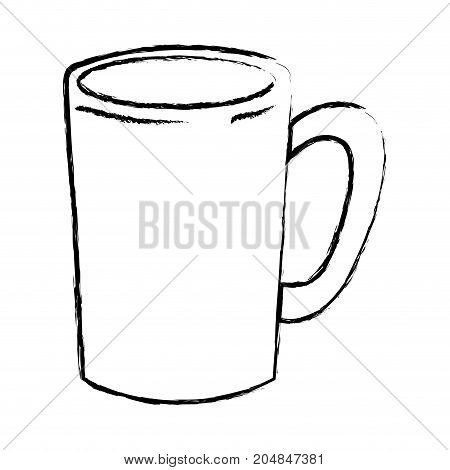 tubular mug of coffee with handle monochrome blurred silhouette vector illustration