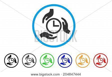 Time Care rounded icon. Style is a flat time care grey symbol inside light blue circle with black, gray, green, blue, red, orange variants. Vector designed for web and software interfaces.