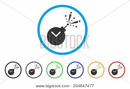 Time Fireworks Charge rounded icon. Style is a flat time fireworks charge grey symbol inside light blue circle with black, gray, green, blue, red, orange versions.