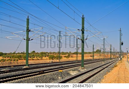 Train rail way in middle of spain