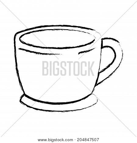 cup of coffee with handle monochrome blurred silhouette vector illustration