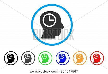 Time Manager rounded icon. Style is a flat time manager gray symbol inside light blue circle with black, gray, green, blue, red, orange color versions. Vector designed for web and software interfaces.