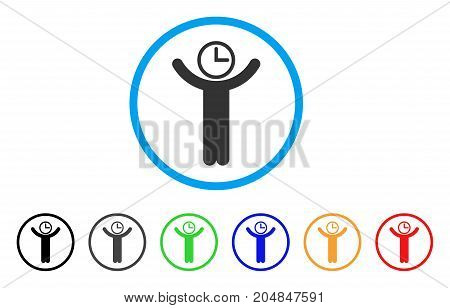 Time Manager rounded icon. Style is a flat time manager grey symbol inside light blue circle with black, gray, green, blue, red, orange versions. Vector designed for web and software interfaces.