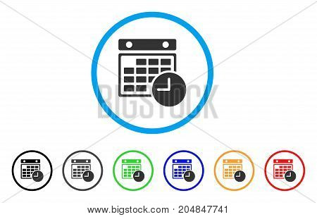 Time Table rounded icon. Style is a flat time table gray symbol inside light blue circle with black, gray, green, blue, red, orange versions. Vector designed for web and software interfaces.
