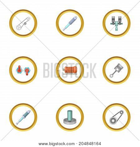 Mechanical and electrical parts icons set. Cartoon style set of 9 mechanical and electrical parts vector icons for web design