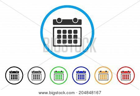 Calendar Month rounded icon. Style is a flat calendar month gray symbol inside light blue circle with black, gray, green, blue, red, orange variants. Vector designed for web and software interfaces.