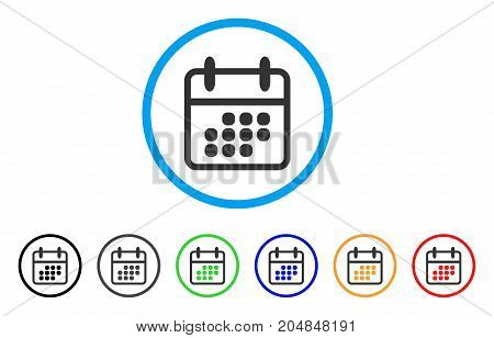 Calendar Month rounded icon. Style is a flat calendar month grey symbol inside light blue circle with black, gray, green, blue, red, orange color versions.