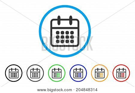 Calendar rounded icon. Style is a flat calendar gray symbol inside light blue circle with black, gray, green, blue, red, orange color versions. Vector designed for web and software interfaces.