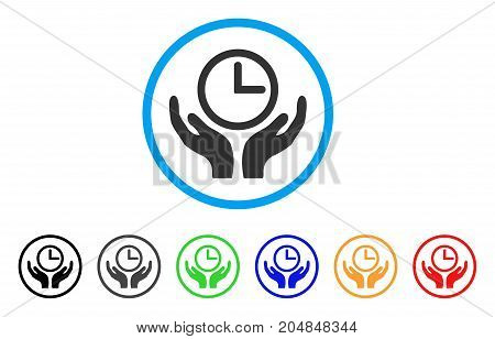 Clock Maintenance rounded icon. Style is a flat clock maintenance gray symbol inside light blue circle with black, gray, green, blue, red, orange color versions.