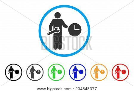 Clock Serviceman rounded icon. Style is a flat clock serviceman gray symbol inside light blue circle with black, gray, green, blue, red, orange color versions.