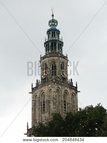 Martini tower in the city of Groningen. The Netherlands