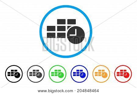 Date Time rounded icon. Style is a flat date time grey symbol inside light blue circle with black, gray, green, blue, red, orange color versions. Vector designed for web and software interfaces.