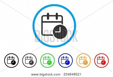 Date Time rounded icon. Style is a flat date time gray symbol inside light blue circle with black, gray, green, blue, red, orange versions. Vector designed for web and software interfaces.