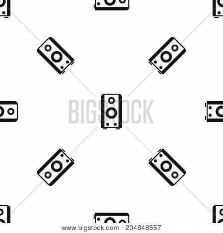 Black sound speaker pattern repeat seamless in black color for any design. Vector geometric illustration