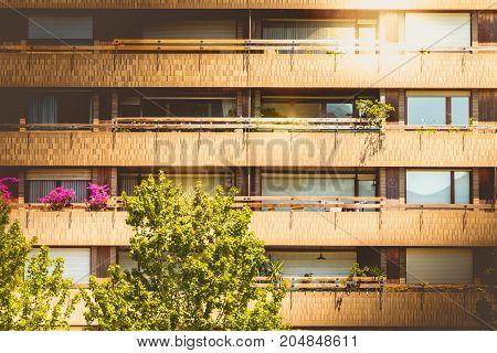 Building Facade Of Red Brick In The Center Of Valencia