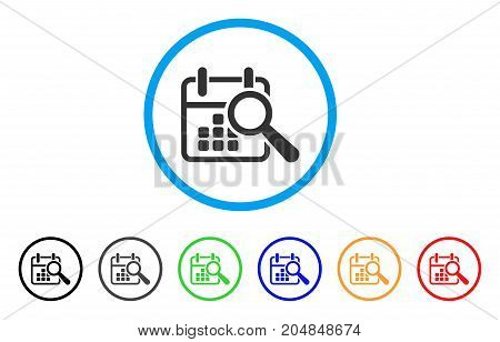 Find Date rounded icon. Style is a flat find date gray symbol inside light blue circle with black, gray, green, blue, red, orange versions. Vector designed for web and software interfaces.