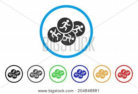 Running Men rounded icon. Style is a flat running men gray symbol inside light blue circle with black, gray, green, blue, red, orange variants. Vector designed for web and software interfaces.