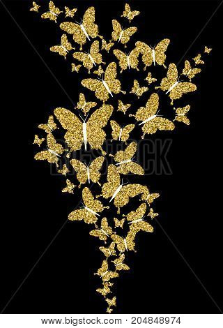 Gold Glitter Spring Nature Butterfly Illustration