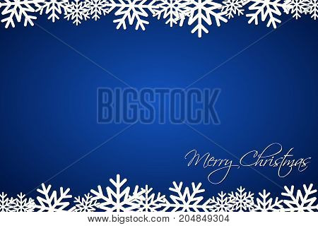 Christmas blue background lined snowflakes simple holiday card Merry Christmas