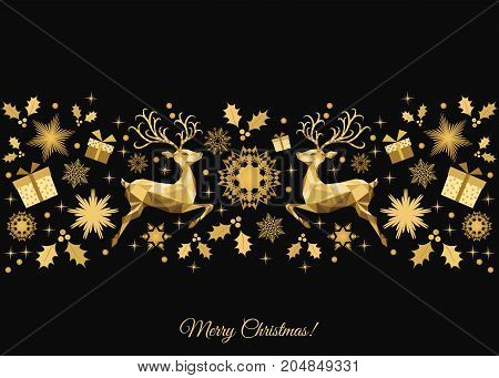 Christmas  Background  With Gold   Reindeer And  Snowflakes.