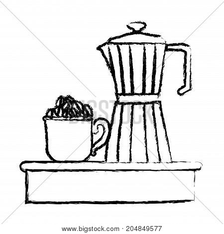 porcelain mug with pile coffee beans and metallic jar of coffee with handle monochrome blurred silhouette vector illustration