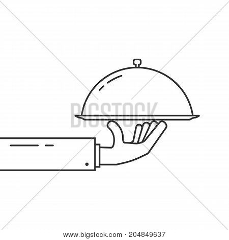 black thin line hand holding dish. concept of fresh breakfast, cloche with cover, hotel gastronomy, man in suit. flat style trend modern logo outline design vector illustration on white background