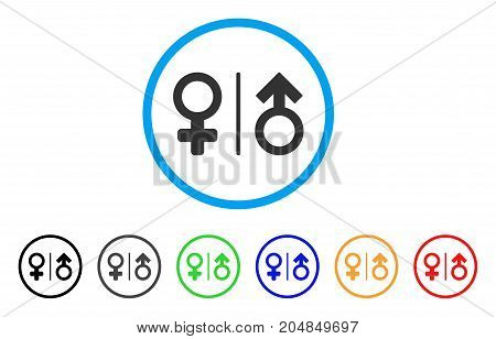 WC Gender Symbols rounded icon. Style is a flat wc gender symbols gray symbol inside light blue circle with black, gray, green, blue, red, orange color versions.