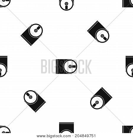 DVD drive open pattern repeat seamless in black color for any design. Vector geometric illustration
