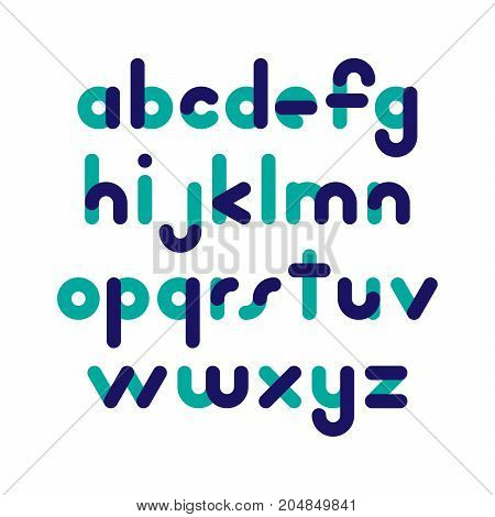 Two-color rounded flat font. Vector letters althabet on white background