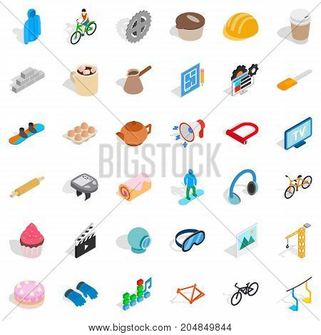 Helmet icons set. Isometric style of 36 helmet vector icons for web isolated on white background