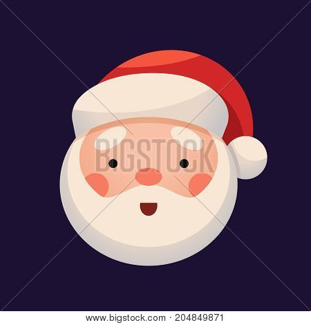 Santa Claus Face on dark background. Sticker Jolly Santa emojicon. Cute Christmas character. Greeting Card