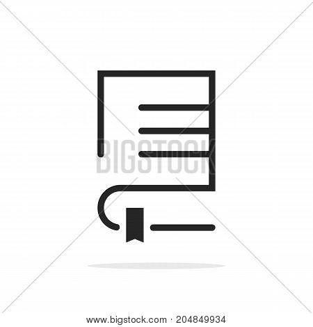 black linear book logo with bookmark. concept of teaching, digital e-book, album, scrapbook, paperback, textbook. flat style trend modern brand graphic design vector illustration on white background