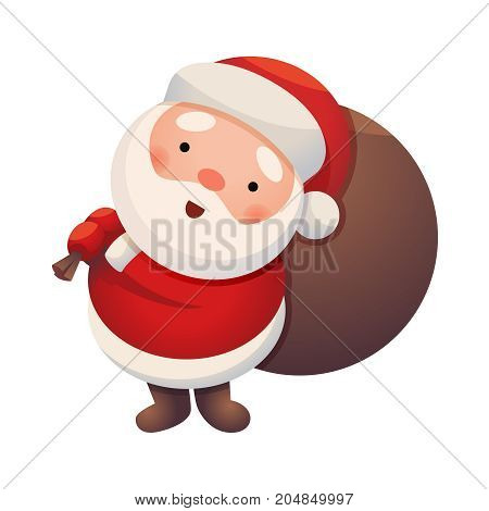 Santa Claus on white background. Sticker Jolly Santa. Cute Christmas character. Greeting Card