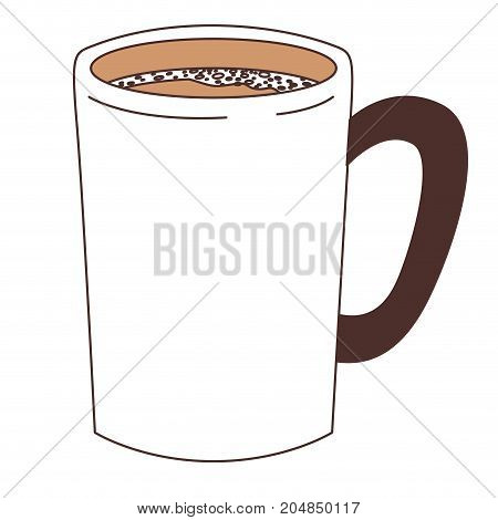 tubular mug of coffee with handle silhouette color section vector illustration