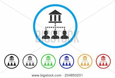 Bank Building Client Links rounded icon. Style is a flat bank building client links grey symbol inside light blue circle with black, gray, green, blue, red, orange versions.