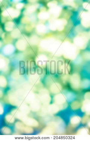 Summer Background - Green and yellow color tone blurred nature background. Abstravt Blurry natural greens bokeh defocused circle light