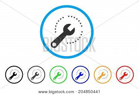 Configure rounded icon. Style is a flat configure gray symbol inside light blue circle with black, gray, green, blue, red, orange versions. Vector designed for web and software interfaces.