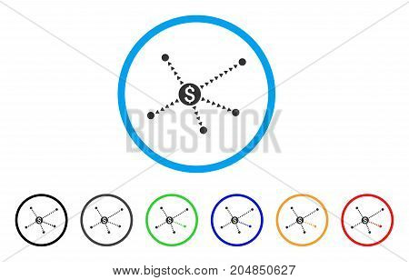 Dotted Financial Links rounded icon. Style is a flat dotted financial links gray symbol inside light blue circle with black, gray, green, blue, red, orange variants.