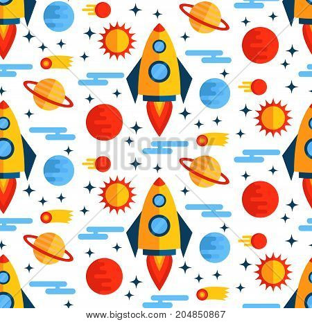 Flat colorful outer space rocket seamless vector pattern