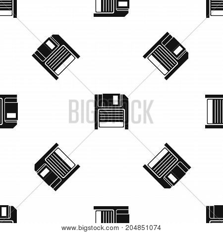 Magnetic diskette pattern repeat seamless in black color for any design. Vector geometric illustration