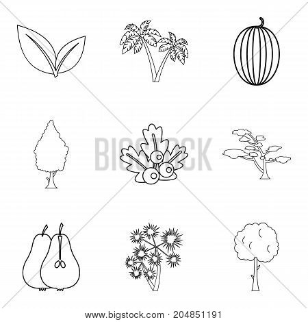 Yard icons set. Outline set of 9 yard vector icons for web isolated on white background