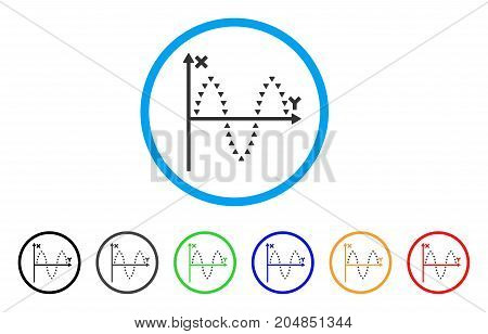Dotted Sinusoid Plot rounded icon. Style is a flat dotted sinusoid plot gray symbol inside light blue circle with black, gray, green, blue, red, orange variants.
