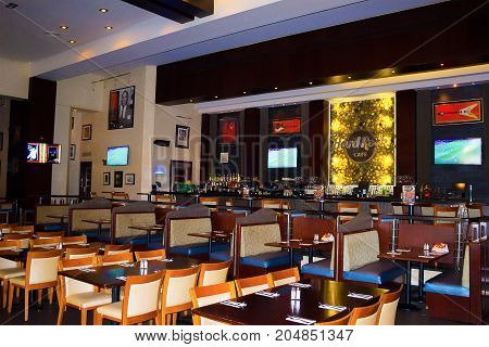 Sharm el Sheikh, Egypt -April 13, 2017: The interior of Sharm Hard Rock Cafe in Sharm el Sheikh, Egypt on April 13, 2017
