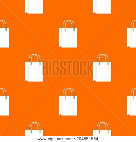 Shopping bag pattern repeat seamless in orange color for any design. Vector geometric illustration